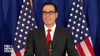 WATCH: Treasury Sec. Mnuchin holds news briefing in New York City