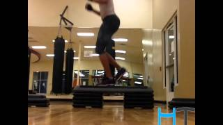 (High Cardio Exercise) Alternating Box Jump Squats for Great CALVES