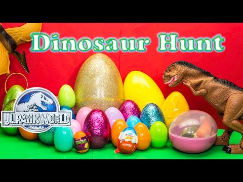 Opening DINOSAURS Surprise Eggs from Jurassic World with the Assistant