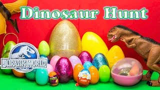 DINOSAURS Jurassic World Funny Dinosaur Huge Surprise Eggs TheEngineeringFamily Surpise Toys Video
