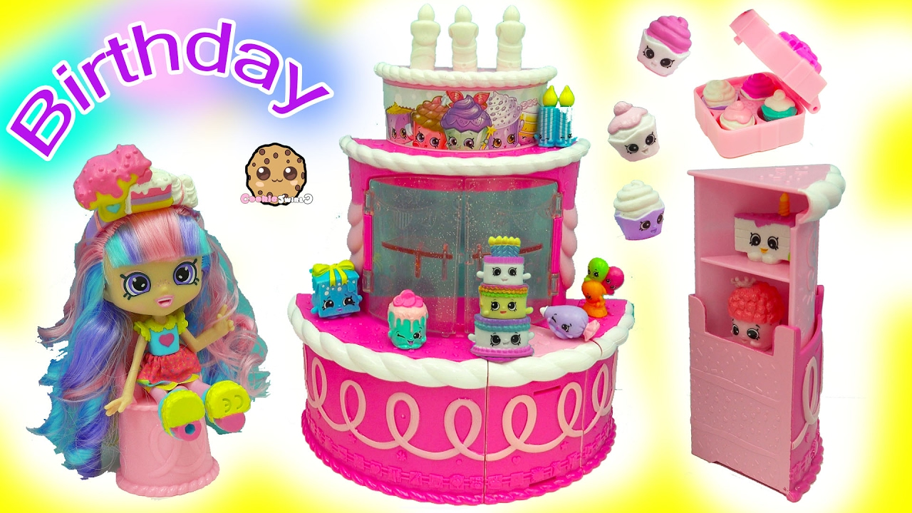 Birthday Cake Surprise Party Season 7 Shopkins Playset With Rainbow Kate Shoppies Blind Bags