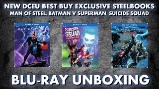 MAN OF STEEL, BATMAN V SUPERMAN, SUICIDE SQUAD - BEST BUY EXCLUSIVE ILLUSTRATED STEELBOOK UNBOXING