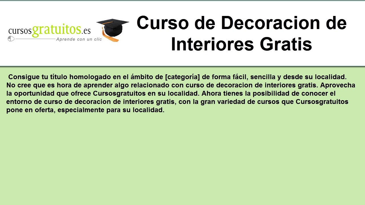 Curso de decoracion de interiores gratis youtube - Curso gratis decoracion de interiores ...