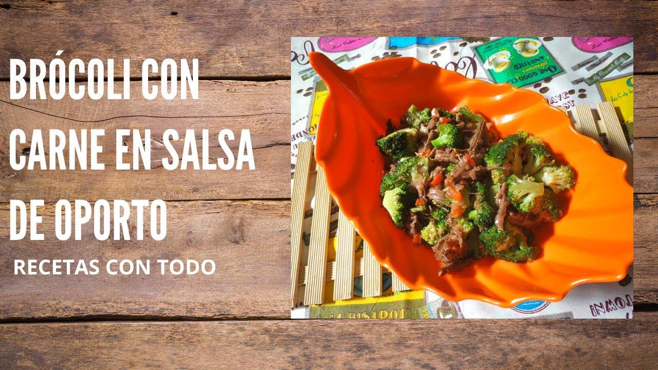 Brócoli con carne y salsa de oporto