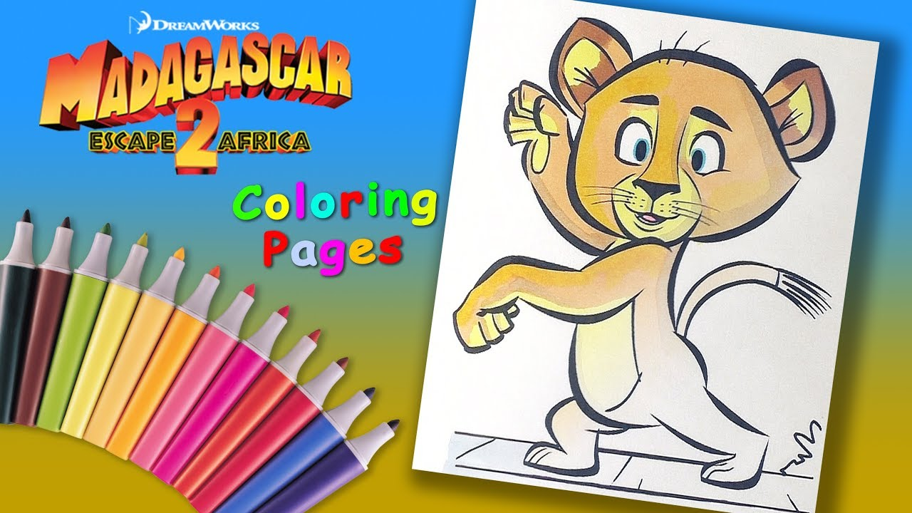Baby Lion Alex Coloring Page For Kids Madagascar 2 Book