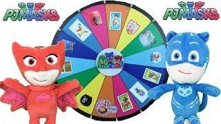 Pj masks en español: juego ruleta sorpresa con regalos y juguetes de peppa pig y paw patrol
