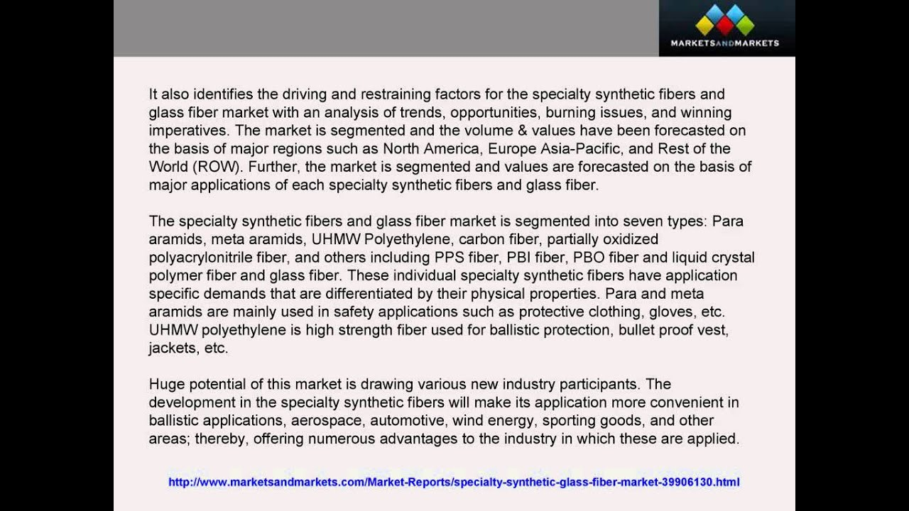 Good Specialty Synthetic Fibers And Glass Fiber Market Poise $20 1 Billion In  2018