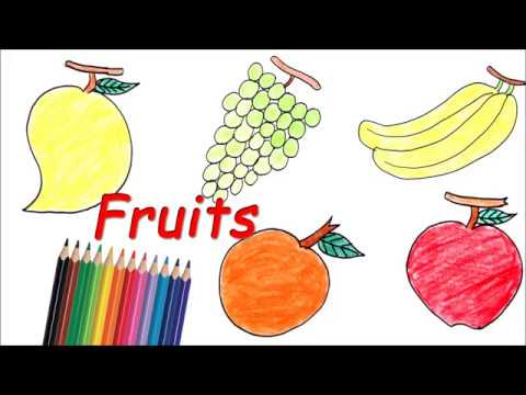 How to Draw Fruits - Banana, Orange, Apple, Grapes, Coloring Fruits - Drawing Coloring With Crayons