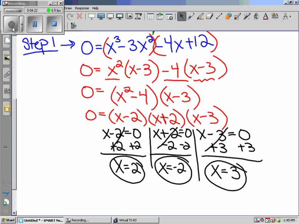 01052011 Algebra 2 Trig Solving Higher Degree Polynomial