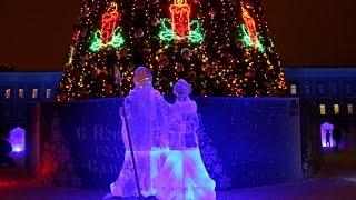 световое шоу от Аэрофлота и ледовый городок  Самаре