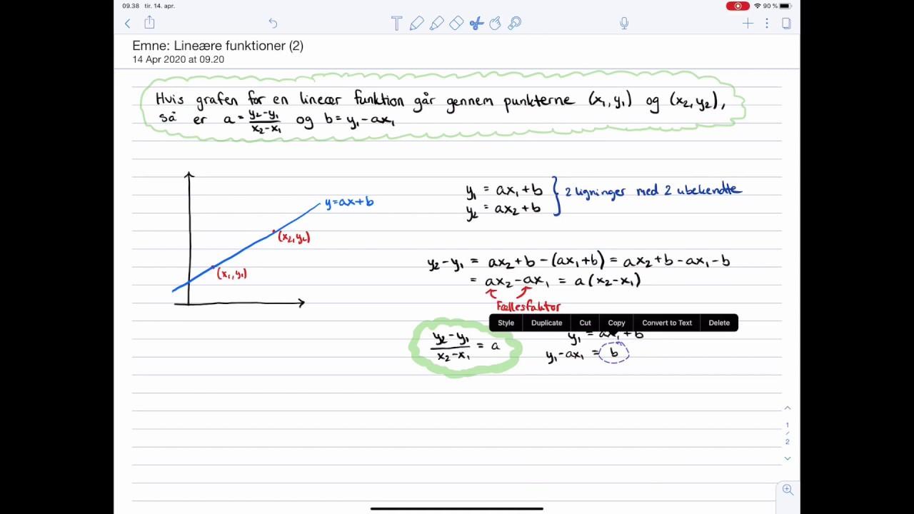 Matematik C-niveau Eksamen: Lineær funktioner: To-punkts-formlerne