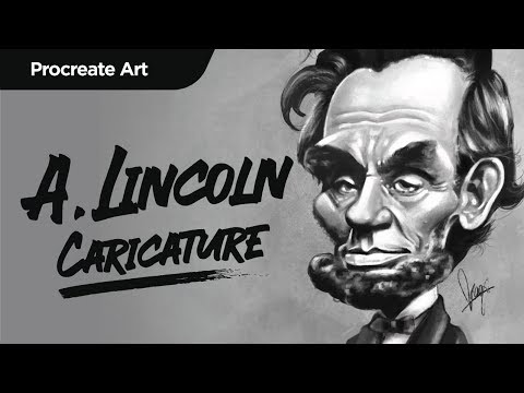 How To Paint In PROCREATE | Abraham Lincoln Caricature