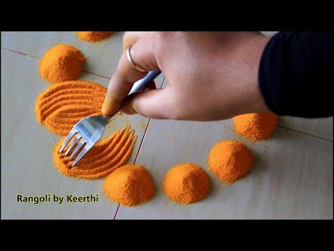 Download Lagu  Simple diya rangoli for diwali using fork l diwali special rangoli design l Rangoli by Keerthi Mp3 Free