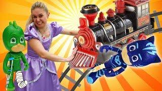 Princess Sofia the First Saves PJ Masks Catboy, Owlette, & Gekko: PJ Masks' Toy Train for Kids