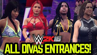 WWE 2K16 - ALL DIVAS ENTRANCES!!