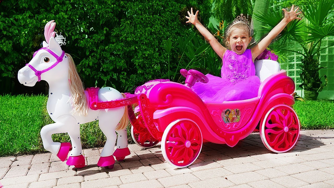 Diana Pretend Play With Princess Carriage Toy Youtube