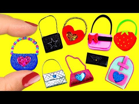10 DIY Barbie Doll Miniature Purse, Handbag, Bag 10 Different Styles10 Easy DIY Doll Crafts #2