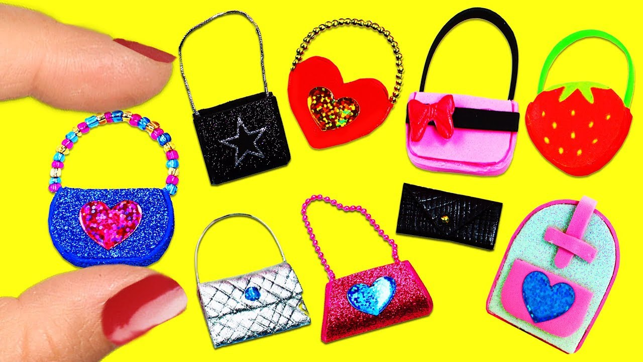 10 Diy Barbie Doll Miniature Purse Handbag Bag Different Styles Easy Crafts 2