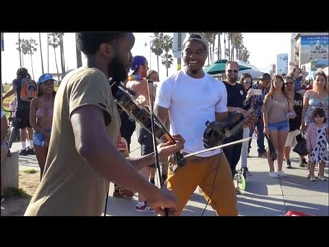 America's got talent - Street performers play Violin Virtuoso.