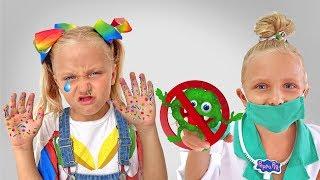 Алиса и папа учат как важно соблюдать правила и мыть руки