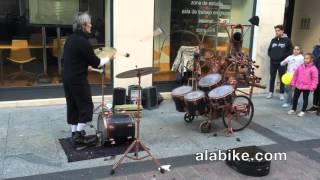 Drum Juggling Street Performer