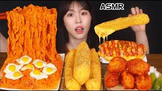 ASMR MUKBANG| 직접 만든 핵불닭 & 양념치킨 & 핫도그 & 치즈스틱 먹방 & 레시피 FIRE FRIED CHICKEN AND HOT DOG EATING
