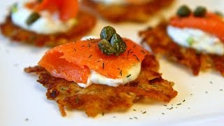 How To Make Crispy Potato Galettes With Smoked Salmon And Dill Cream