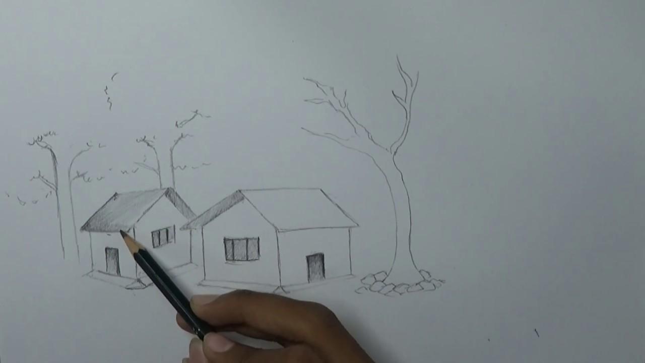 Cara Menggambar Pemandangan Dengan Pensil Dengan Mudah Youtube