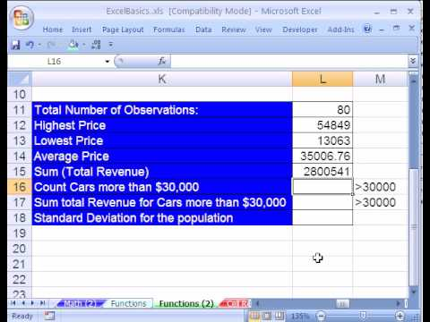 Excel Basics #6: Names Cell Ranges and Functions