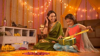 Festival Celebration - A cute girl opening the festival gift with her mom. Happy and Excited