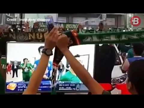 Jeda Babak Pertama Persebaya vs Martapura FC, Nonton Bareng Bonek Berpesta