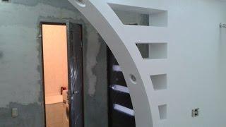 видео арка из гипсокартона на кухне
