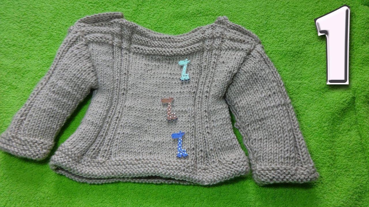 Кофточка на 1 годик ребенку Часть 1  Вязание спицами