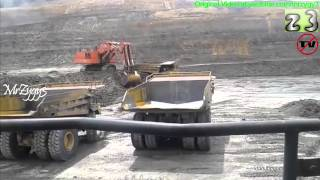Mining Haul Trucks And Excavators View From Hitachi EX2600 Excavator