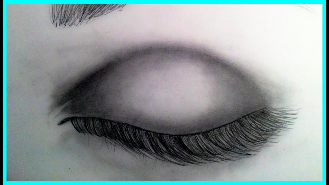 how to draw a realistic eye closed youtube