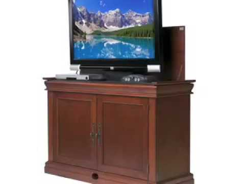 discontinued touchstone cambridge end of bed tv lift cabinet youtube. Black Bedroom Furniture Sets. Home Design Ideas