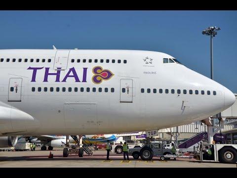 Thai Airways Boeing 747-400 HS-TGP Startup @ CNX