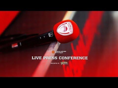 Live Press Conference Olympiacos Piraeus - Zalgiris Kaunas
