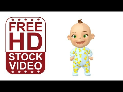FREE HD video backgrounds – animated cartoon baby character standing idle and looking around
