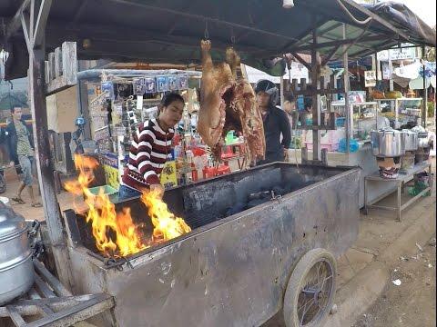 วัวหันน้ำปลาร้าอร่อยมากที่รัตนคีรีประเทศกัมพูชา  barbecued suckling cow with  Pickled fish
