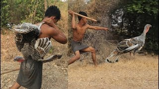 Primitive Technology - Find Food regrettably in the jungle - Cooking turkey Eating delicious