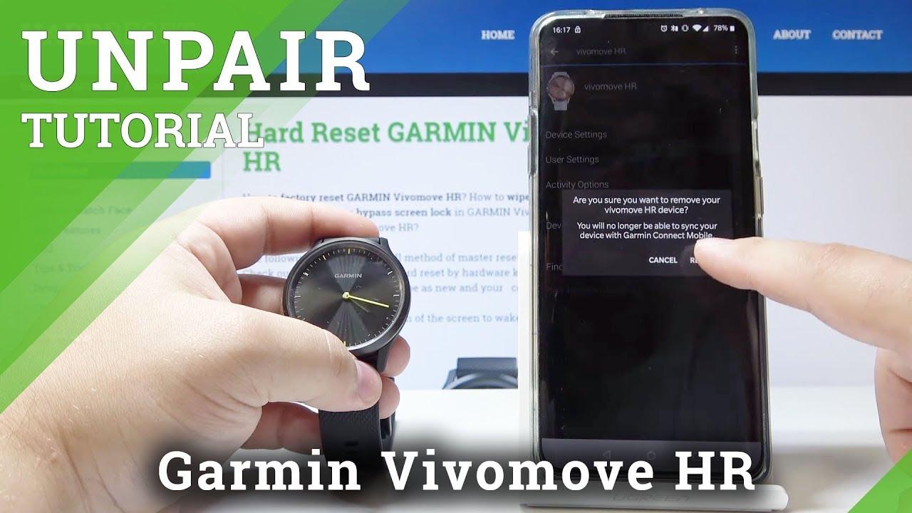 How to Unpair GARMIN Vivomove HR - Restore Defaults / Disconnect GARMIN
