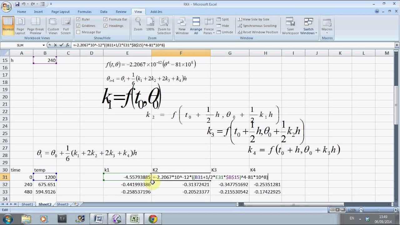 solving an ordinary differential equation in excel - YouTube