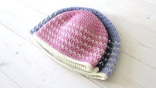 VERY EASY crochet fleck stitch hat / beanie tutorial - baby & children's sizes