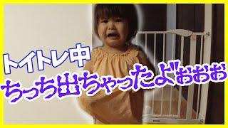 【2歳児 トイトレ】うっかりお漏らししてしまって号泣! オムツをしないで過ごす休日、トイトレ失敗しました・・。