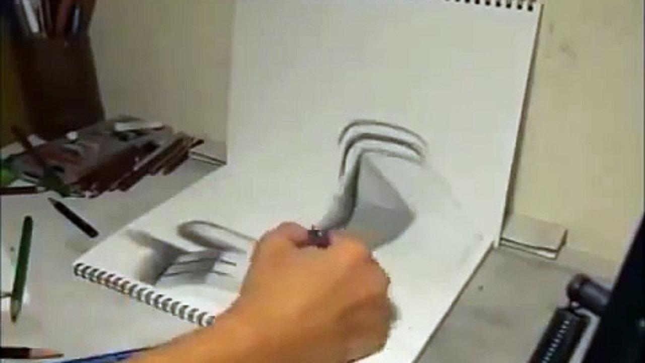 طريقة بسيطه لتعليم رسم ثلاثي الابعاد بالخطوات للمبتدئين رسم 3d