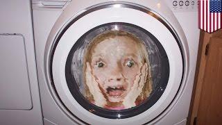 5-летняя девочка оказалась в работающей стиральной машине