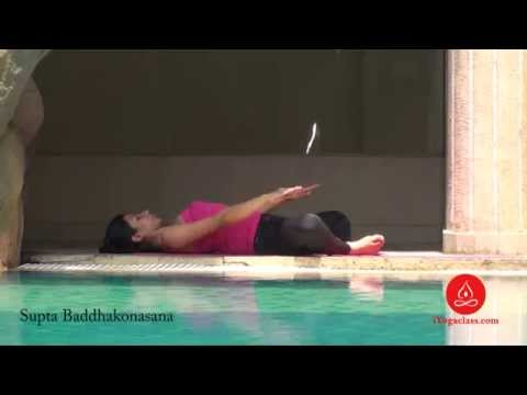 Yoga Stretch Supta Baddha Konasana, Reclined Bound Angle Pose