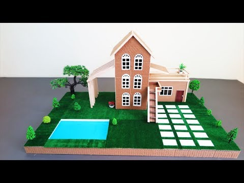 Building A Beautiful Mansion House With Fairy Garden ~ Pool From Cardboard & Popsicle Stick