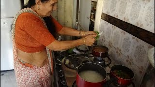 My 77 Year old Mumbai Aunty sharing her Potato & Peas Curry Recipe cooked in her one room apartment.